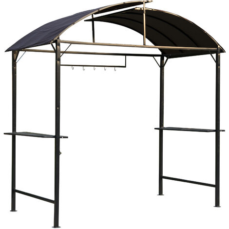 Outsunny Garden Metal Gazebo BBQ Tent Grill Canopy Awning Shelter - Coffee