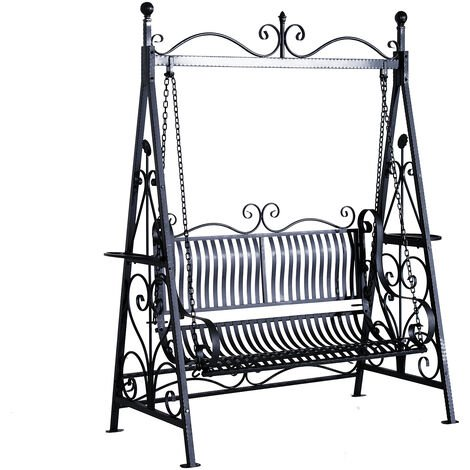 Outsunny Garden Metal Swing Chair Outdoor Patio Hammock Bench Cast Iron Swinging Seat Vintage Style