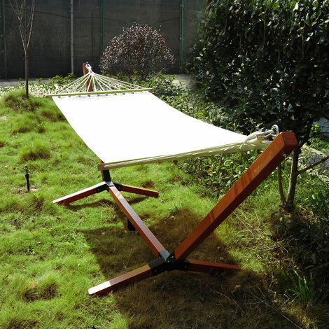 Outsunny Garden Outdoor Patio Wooden Hammock w/ Wood Standing Frame