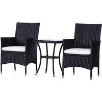Outsunny Garden Outdoor Rattan Furniture Bistro Set 3 PCs Patio Weave Companion Chair Table Set Conservatory