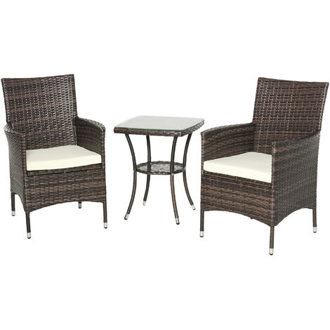 Outsunny Garden Outdoor Rattan Furniture Bistro Set Patio Weave Companion Chair Table Set Conservatory Fire Retardant Sponge