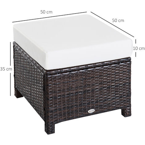 """main image of """"Outsunny Garden Patio Rattan Furniture Outdoor Wicker Ottoman Foot Stool Rest"""""""