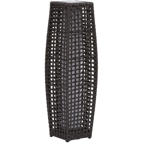 Outsunny Garden Patio Rattan Lamp Wicker Outdoor Solar Powered LED Light Coffee 68cm