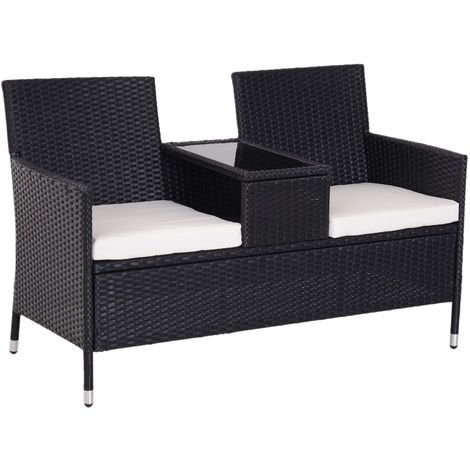 Outsunny Garden Rattan 2 Seater Companion Bench w/ Cushions Patio Furniture