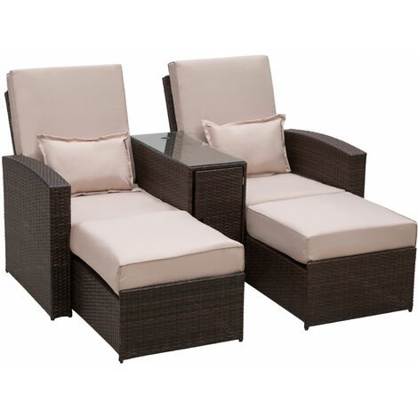 Outsunny Garden Rattan Companion Sofa Chair & Stool Lounger Recliner Sunbed Furniture Set (Brown)