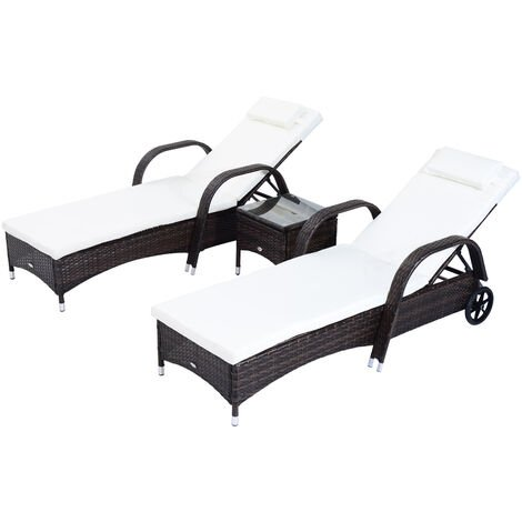 Outsunny Garden Rattan Furniture 3 PC Sun Lounger Recliner Bed Chair Set with Side Table Wicker (Brown)
