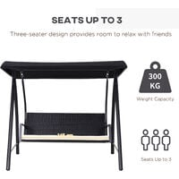 Outsunny Garden Rattan Swing Chair Bench Hammock Lounger - Black