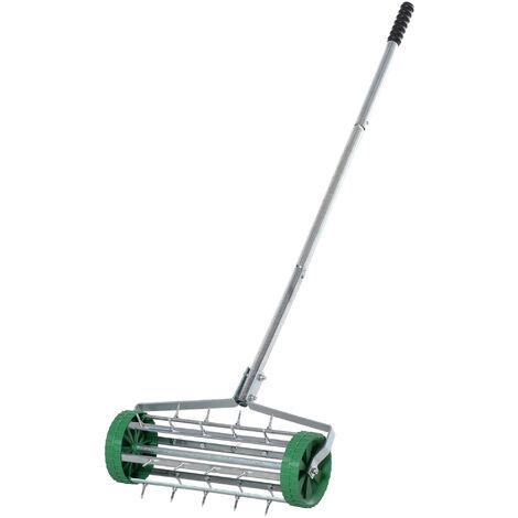 Outsunny Garden Rolling Lawn Aerator Heavy Duty Steel Grass Roller w/ Adjustable Handle