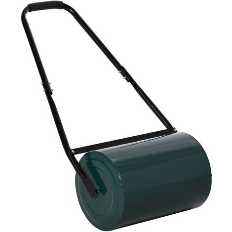 Outsunny Garden Steel Lawn Roller Heavy Duty Water or Sand Filled 30 Litres Green