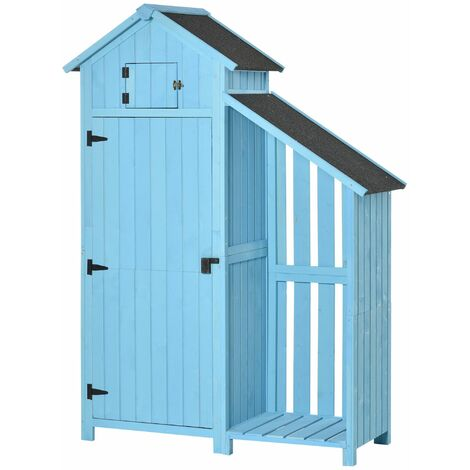 Outsunny Garden Storage Shed Outdoor Firewood House w/ Waterproof Asphalt Roof