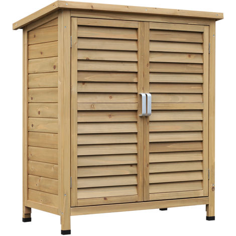 Outsunny Garden Storage Unit Solid Fir Wood Organisation Cabinet Outdoor