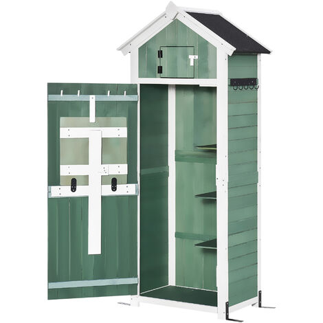 """main image of """"Outsunny Garden Wood Storage Shed w/ Workstation Hooks Lockable Outdoor Green"""""""