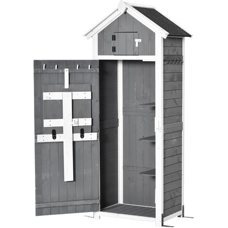 """main image of """"Outsunny Garden Wood Storage Shed w/ Workstation Hooks Lockable Outdoor Grey"""""""