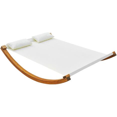 Outsunny Garden Wooden Swing Bed Sun Lounger Hammock w/ Pillows