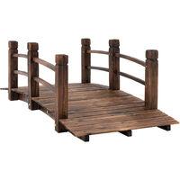 Outsunny® Gartenbrücke Holzbrücke Holzsteg Teichbrücke Zierbrücke mit Geländer bis 180 kg Tannenholz Dunkelbraun 152,5 x 67 x 48 cm