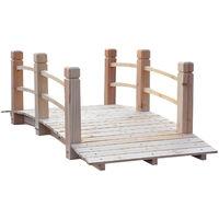 Outsunny® Gartenbrücke Holzbrücke Holzsteg Teichbrücke Zierbrücke mit Geländer bis 180 kg Tannenholz Natur 152,5 x 67 x 48 cm