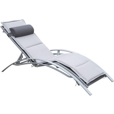 "main image of ""Outsunny® Gartenliege Alu Sonnenliege Gartenstuhl Relaxsessel Liegestuhl verstellbar - grau/weiß"""