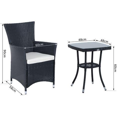 Outsunny Gartenmöbel 5 Tlg Polyrattan Balkonset 2 Stühle 1 Tisch