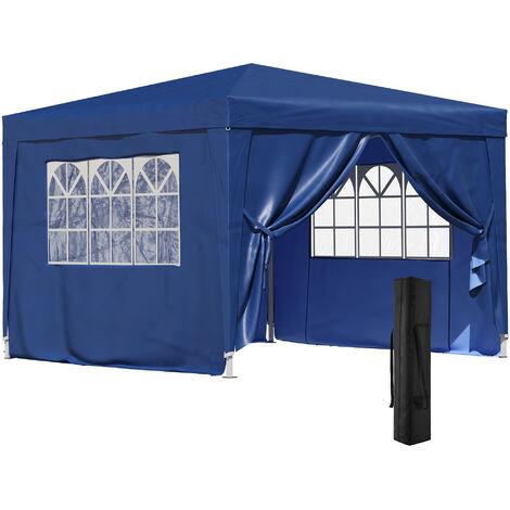 Outsunny Gazebo con Ventanas y Bolsa de Transporte 3x3 m Azul