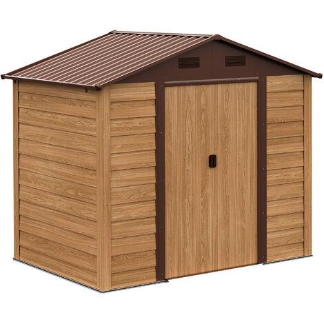 Outsunny® Geräteschuppen mit 4 Fenstern | Gerätehaus | Holzmaserungsimitat | 152 x 235,7 x 208,7 cm