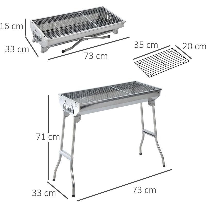 Barbecue Portatile Pieghevole.Outsunny Griglia Barbecue Portatile E Pieghevole In Acciaio Inox 73x33x71cm
