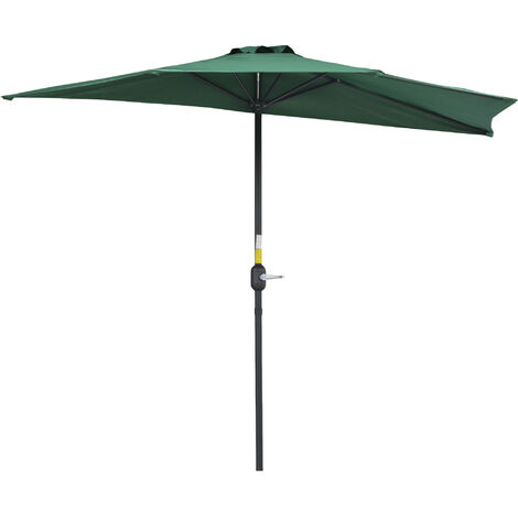 Outsunny Half Parasol Aluminium Frame Crank - 2.7m -- NO BASE INCLUDED