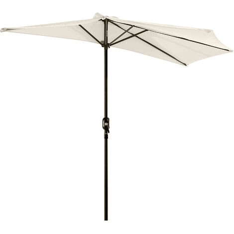 Outsunny Half Parasol Aluminium Frame Crank (3m, Cream)-- NO BASE INCLUDED