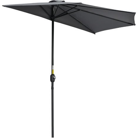 Outsunny Half Parasol Aluminium Frame Crank - 3m -- NO BASE INCLUDED