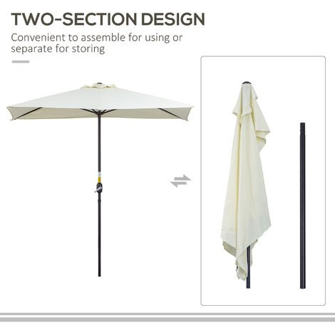 Outsunny Half-Shade Parasol Umbrella w/ Crank Handle Balcony Wall Outdoor Beige