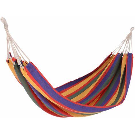 Outsunny Hamaca Colgar Playa Piscina Jardin Camping 70% Algodon varias Medidas y Colores - Morado, Rojo, Amarilo