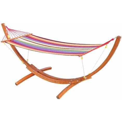 Outsunny Hamaca con Soporte de Madera Tumbona para Jardín Playa Carga 120kg 315x100x110cm