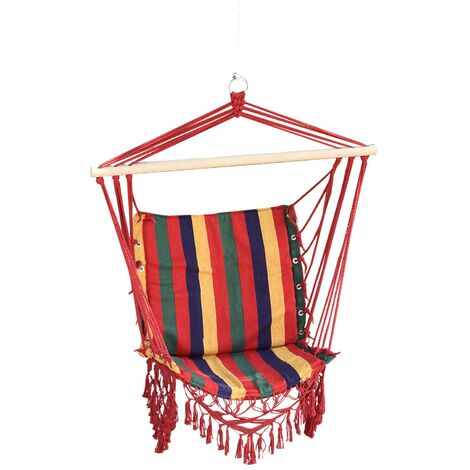 Outsunny Hammock Chair Swing Colourful Striped Seat Outdoor Garden Furniture