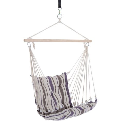 Outsunny Hammock Rope Cushioned Swing Seat Wooden Cotton Cloth (Brown)