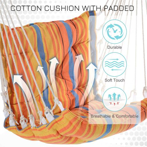 Outsunny Hammock Rope Cushioned Swing Seat Wooden Cotton Cloth (Orange)