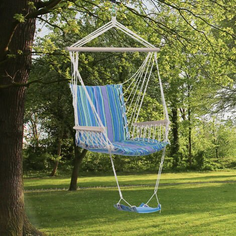 Outsunny Hammock Rope Swing Seat Wooden w/ Footrest Armrest Cotton Cloth (Blue)