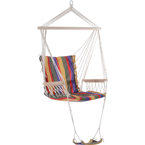Outsunny Hammock Rope Swing Seat Wooden w/ Footrest Armrest Cotton Cloth (Multi)