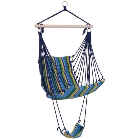 """main image of """"Outsunny Hammock Swing Chair Hanging Striped Seat w/ Foot Rest Outdoor Garden"""""""