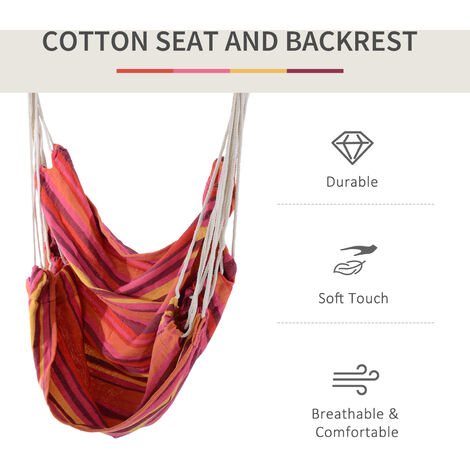 Outsunny Hammock Swing Seat Wooden w/ Cotton Cloth and Ropes (Red)