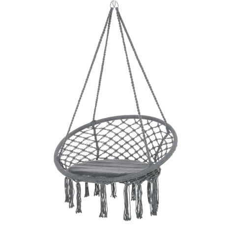 Outsunny Hanging Tassel Hammock Chair Swing Elegant Outdoor Rope w/ Cushion