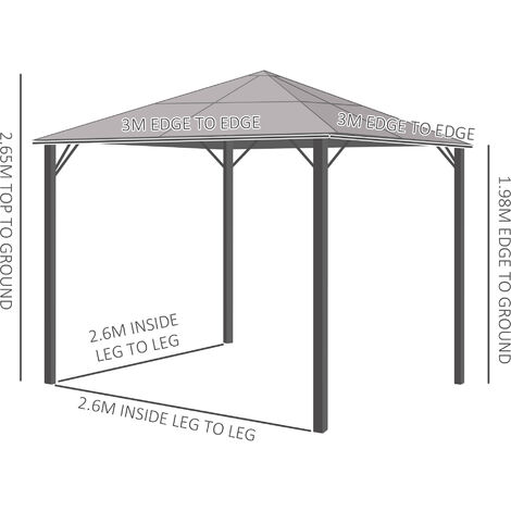 Outsunny Hardtop Gazebo w/ Steel Frame 4 Mesh Curtains Garden Outdoors 3x3(m)