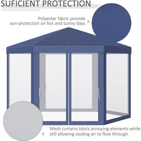 Outsunny Hexagon Gazebo Tent w/ Mesh Curtains Patio Canopy Outdoor Shelter Party