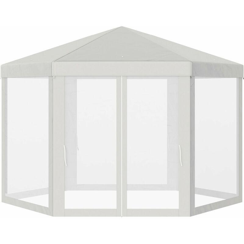 Outsunny Hexagonal Gazebo Patio Canopy Party Wedding Water Resistant W Netting Beige