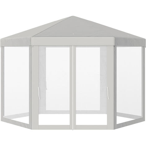 Outsunny Hexagonal Gazebo Patio Canopy Party Wedding Water-resistant w/ Netting - Beige