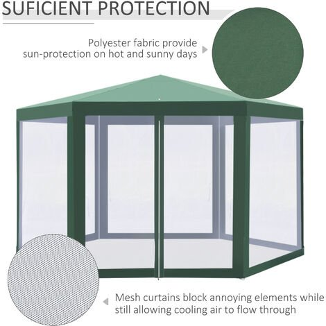 Outsunny Hexagonal Gazebo Patio Canopy Party Wedding Water-resistant w/ Netting - Green