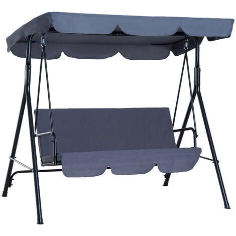 Outsunny® Hollywoodschaukel Gartenschaukel Gartenliege Schaukelbank 3-Sitzer Stahl Polyester grau 172 x 110 x 152cm