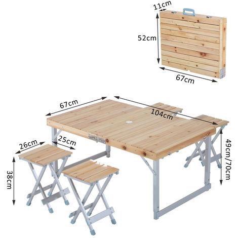 Campingtisch Holz.Outsunny Holz 5tlg Campingtisch Set Picknick Koffertisch