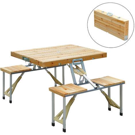 Outsunny® Holz Campingtisch Klapptisch Picknick Bank Esstisch