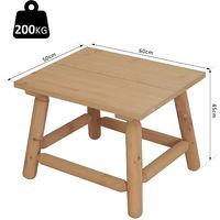 Outsunny® Holzhocker Nachttisch Blumenständer Kinderstuhl Schemel Allzweck Tannenholz Natur 60 x 50 x 45 cm