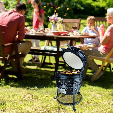 Outsunny® Holzkohlengrill BBQ Campinggrill Abschließbarer Deckel Thermometer Gusseisen