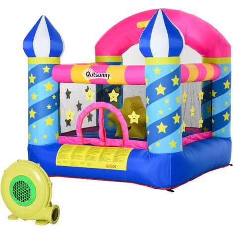 Outsunny® Hüpfburg aufblasbare Burg für 2 Kinder Springburg Spielburg mit Gebläse bunt - blau
